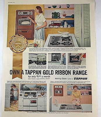 Vintage 1950s 50s AD Mid Century Modern Kitchen & Furnishings Tappan 1957 AD