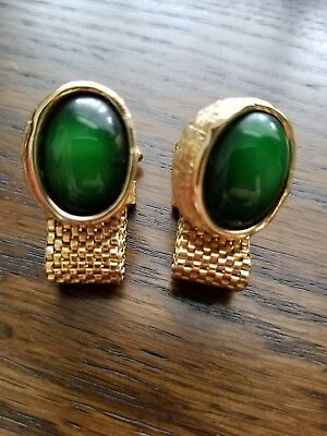 Vintage Cufflinks Made green Round Gold Tone Setting Unusual color and setting.