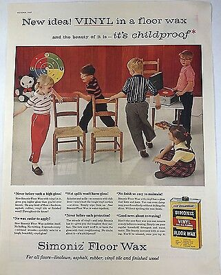 Vintage 1950s 50s AD Kids Musical Chairs Floor Wax Ad Mid Century Modern 1957 AD