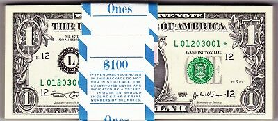 "2003 ""l"" San Francisco Star Pack Of 100 Notes Uncirculated Consecutive"
