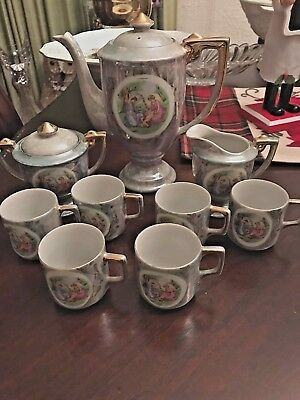 Beautiful Vintage Tea Set Made in Japan  Victorian Scene  Auqa blue/Green color