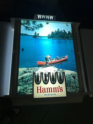 Vintage Large Hamms Beer Lighted Sign - Outdoors Canoe Water Lake Scene *READ*