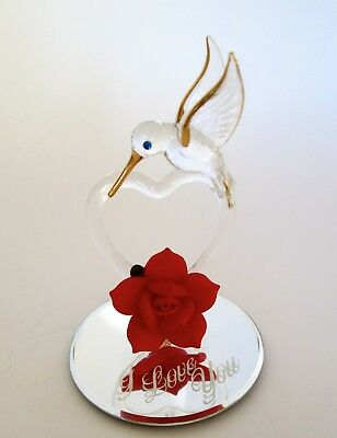Glass Baron Hummingbird With Red Rose and Heart I LOVE YOU Valentine