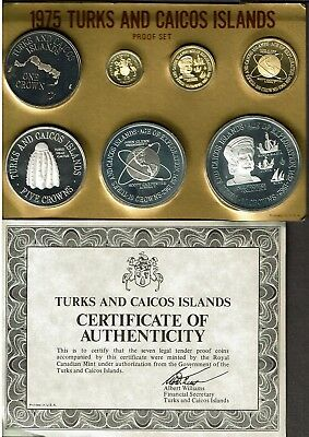 Turks & Caicos Islands 7-Coin Silver & Gold Proof Set 1975 Nice In Case