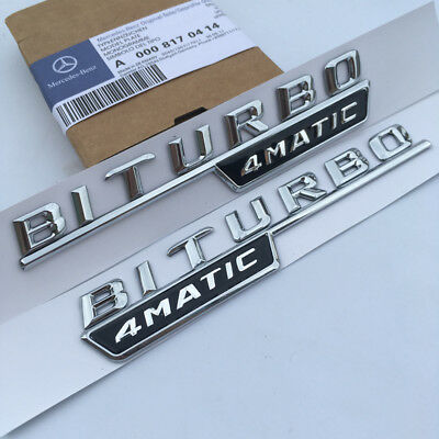 2 x BITURBO/4MATIC Chrome Side Decal Badge Sticker for Mercedes-Benz W205 AMG