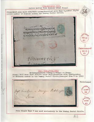 India Victoria 1861/62 Covers From Matheran To Poona, From Seeroor