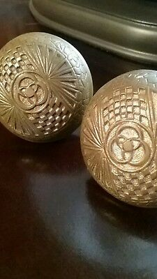 2 Mallory Wheeler  Antique Eastlake Victorian Cast Brass Door Knobs Old