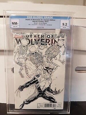 DEATH OF WOLVERINE #1 Sketch Variant Cover, 2014 Limited 1 for 500. Graded 9.2