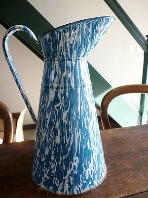 Antique French Graniteware Enamelware Blue And White Body Pitcher