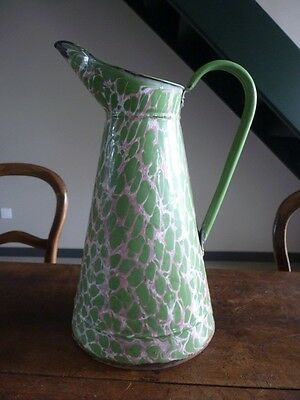 Antique French Graniteware Enamelware Green Pink Body Pitcher  Perforated