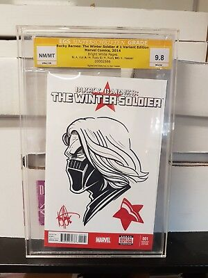 Bucky Barnes:The Winter Soldier #1 Signed and Sketched by Ken Haeser Graded 9.8