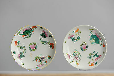 Antique 19th Porcelain Chinese Famille Rose Marked Plate Dishes With Flowers