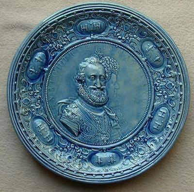 Continental French Royalty Large Faience Ceramic Charger Henri Iv Maria Medicis