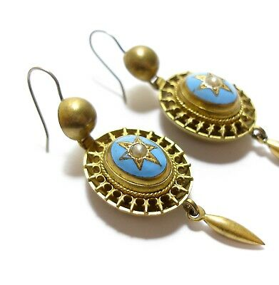Stunning Antique Georgian Or Victorian Long Enamel Earrings Regency Style (B3)