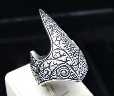 Turkish Handmade 925 Sterling Silver ARCHER Onyx Mens Ring Sz 11 us Free Resize