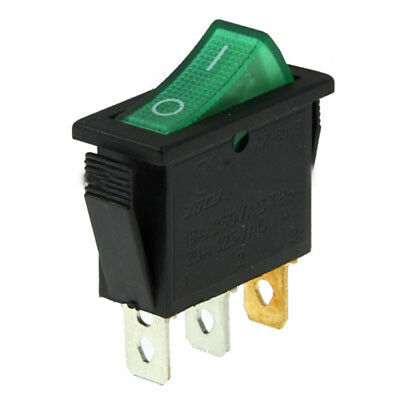 ABS Switch 3-Pin ON / OFF - Green (15A, AC 250V / 20A, AC 125V)