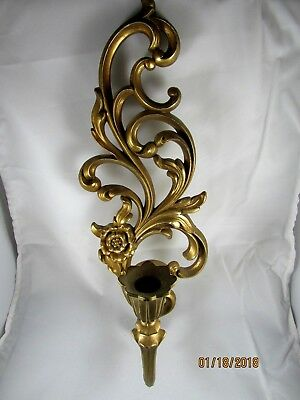 "Syroco Gold Colored Wall Sconce Candle Holder Hollywood Regency 16"" height"