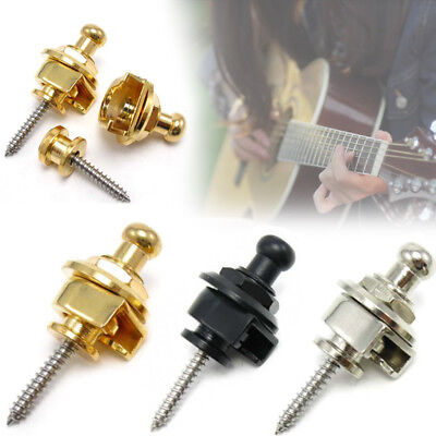Alloy Metal Eelectric Guitar Bass Strap Buckle Button Lock Musical Instruments