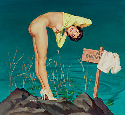 "Vintage Illustration Art No Swimming 12 x 12""  Photo Print"