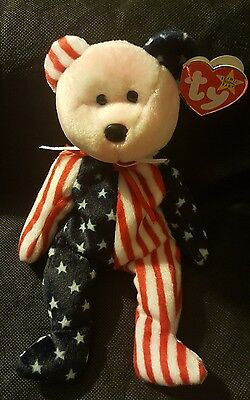 TY BEANIE ORIGINAL BABY STAR SWING TAG 1999 SPANGLE PINK FACE Patriotic Body