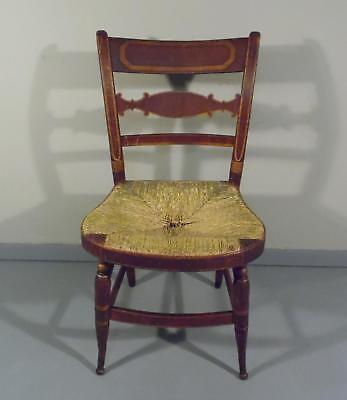 Antique Slat Back Rush Seat Hand Painted & Stenciled CT Farmhouse Chair c. 1810