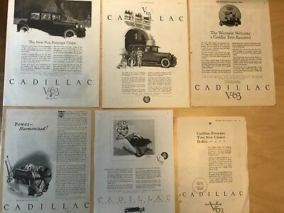 E 1924 Cadillac Vintage Old Car Ads lot of 6