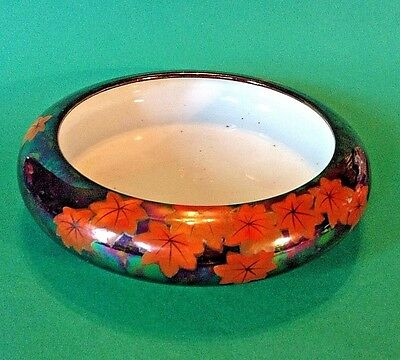 Lotus Bowl - Iridescent Green Bronze Glaze With Fiery Maple Leaves - Japan
