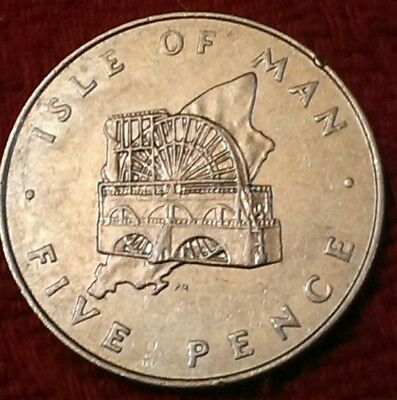 *RARE* 1978 LAXEY WHEEL over island Isle of Man large old 5p five pence coin IOM
