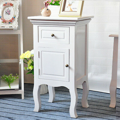 1x Bedroom Bedside Table Unit Cabinet Nightstand with Drawers & Cupboard