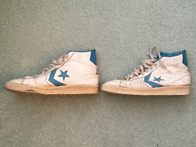 Vintage Converse All Stars. Leather, light blue star. Made in USA. Size 7 1/2