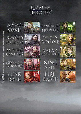 GAME OF THRONES 2018 SMILERS COLLECTORS SHEET Mint