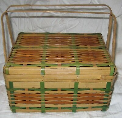 Vintage Woven Wicker Bamboo Picnic Lunch  Basket Double Handles Marked Japan