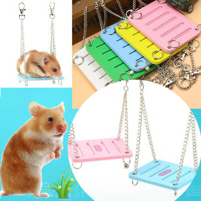 Wooden Hamster Toy Swing Bell Rat Exercise Cage Hanging Pet Play Playing Fun