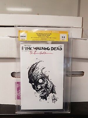 Walking Dead #150 zombie head Signed by Gaudiano & Sketched by Haeser Graded 9.8