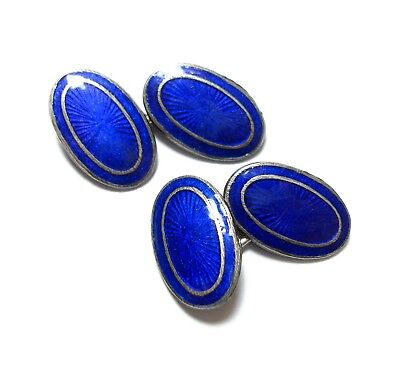 Stunning Pair Of Antique Victorian Silver & Cobalt Blue Enamel Cufflinks (B8)
