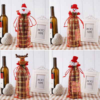 Elegant Lace Sheer Organza Wine Bottle Beer Gift Bags Christmas Xmas Packing Bag