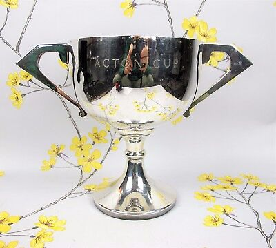 """Vintage silver plated TROPHY CUP - engraved """"Acton Cup"""". 19 cm"""