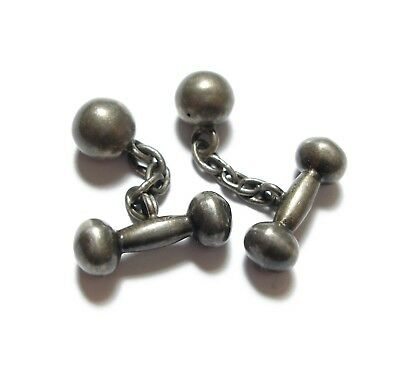 Stunning Pair Of Old Antique Victorian Silver Dumbbell Mens Dress Cufflinks (B9)