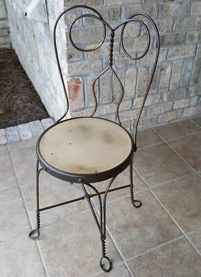 Antique Vintage Revell Chicago Wrought Iron Twisted Metal Ice Cream Parlor Seat