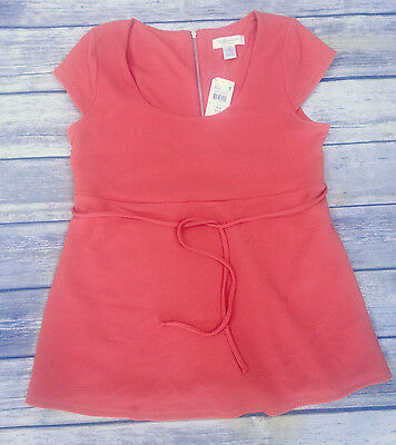 MOTHERHOOD MATERNITY Empire Waist Coral Top Cap Sleeves Self-Tie Size S NWT