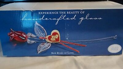 Glass Baron Glass Long Stem Red Rose of Love Valentines Day FREE SHIP!