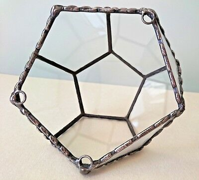 TERRARIUM Dodecahedron Geometric Indoor Wall Hanging Stained Glass one of a kind