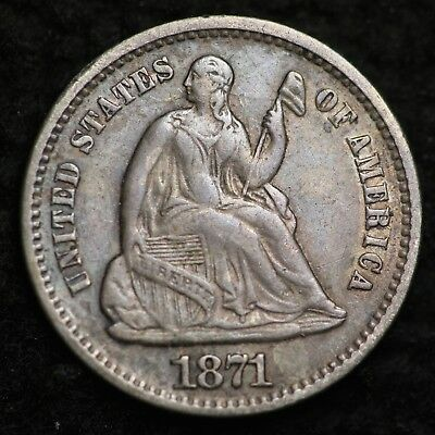 1871 Seated Liberty Half Dime CHOICE AU FREE SHIPPING E230 KHT