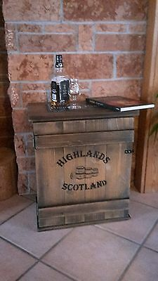 Bar Whiskey Frachtkiste Single Malt shabby vintage Schrank Whisky Landhaus Retro