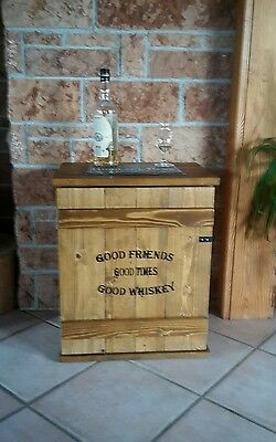 Mini Bar Whiskey Frachtkiste  shabby vintage Schrank Whisky massiv Nachttisch BH