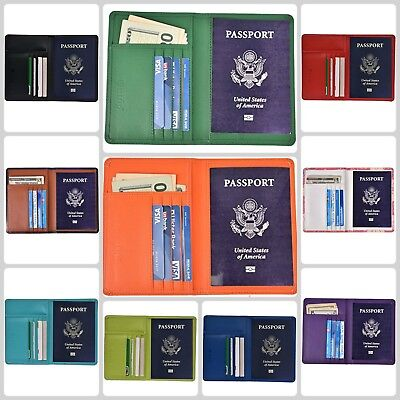 Leather Passport Holder Cover Travel Wallet ID Card Case Pockets RFID Blocking