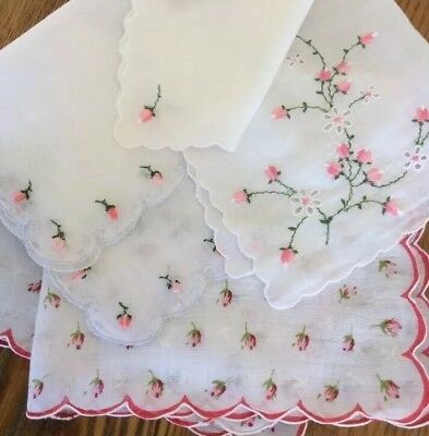 Vintage Hankie Handkerchief Lot of 3~ PINK ROSEBUD Florals~Embroidery