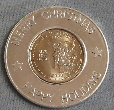 Encased 2000 New Hampshire State Quarter in Merry Christmas Happy Holidays