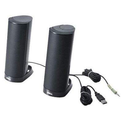 Dell AX210CR Black – 3.5 mm Portable Stereo Speaker with USB Cable Universal Da)