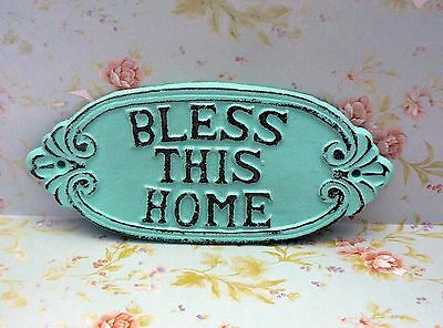 Bless This Home Shabby Chic Beach Lt Blue Cast Iron Welcome Entryway House Sign